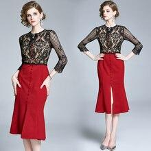 Zuoman женское осеннее элегантное кружевное платье праздничное