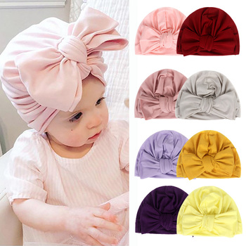 New Baby Hat for Girls Bow Cotton Turban Hats Baby Beanie Toddler Photography Props Kids Beanies Baby Cap Infant Accessories 1pc new spring warm cotton baby hat girl boy toddler infant kids caps candy color cute baby beanies accessories