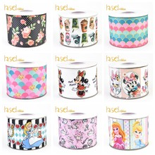 HSD DIY Craft Supplies cartoon printed grosgrain ribbon 10 yards per Roll(China)