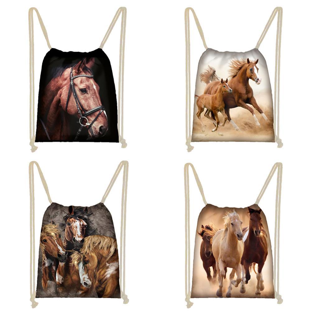 Twoheartsgirl Cool Animal Horse Print Drawstring Bag 3d Men Women Storage Bags Lightweight Kids Boys Girls Bookbag Softbacks