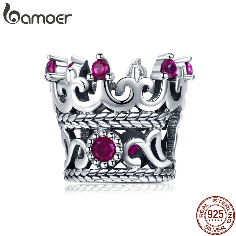 BAMOER Trendy 925 Sterling Silver Queen's Crown Pink CZ Crystal Charm Beads Fit Women Bracelets Bangle DIY Jewelry Making SCC776(China)