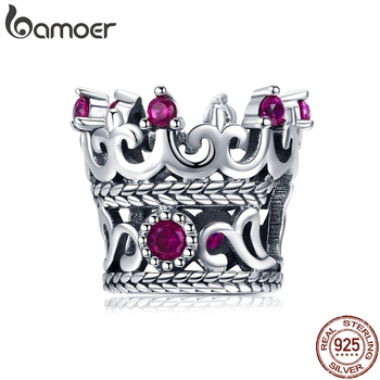 BAMOER Trendy 925 Sterling Silver Queen's Crown Pink CZ Crystal Charm Beads Fit Women Bracelets Bangle DIY Jewelry Making SCC776