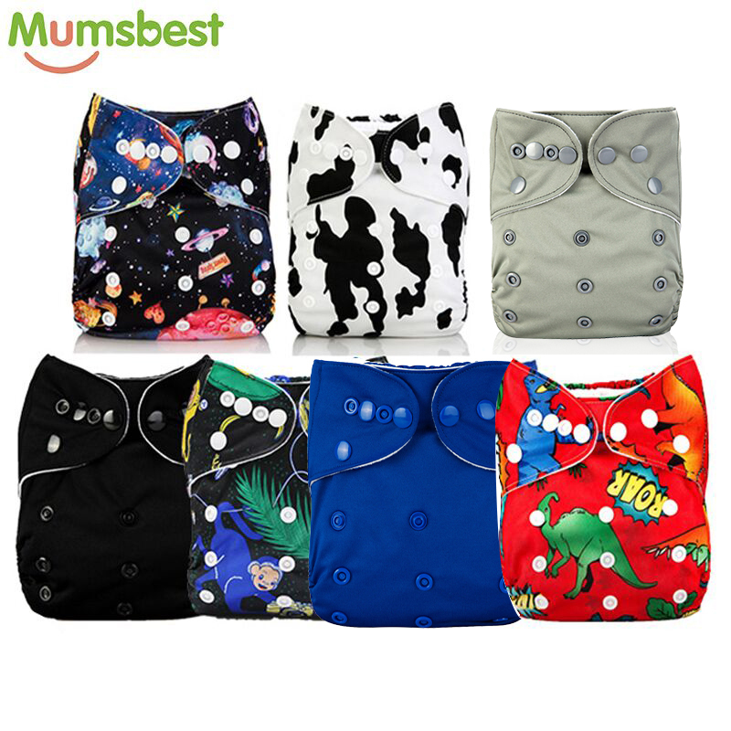 [Mumsbest] 7 Pcs/Lot Baby Boy Dinosaur Pocket Diaper Black Colors One Size Pocket Cloth Diaper Mumsbest Nappies Nappy