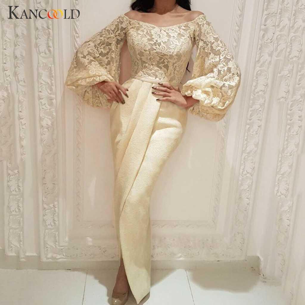 Kancoold 드레스 여성 섹시 솔리드 컬러 긴 퍼프 슬리브 메쉬 패션 저녁 긴 드레스 제국 파티 새로운 드레스 여성 2019dec16