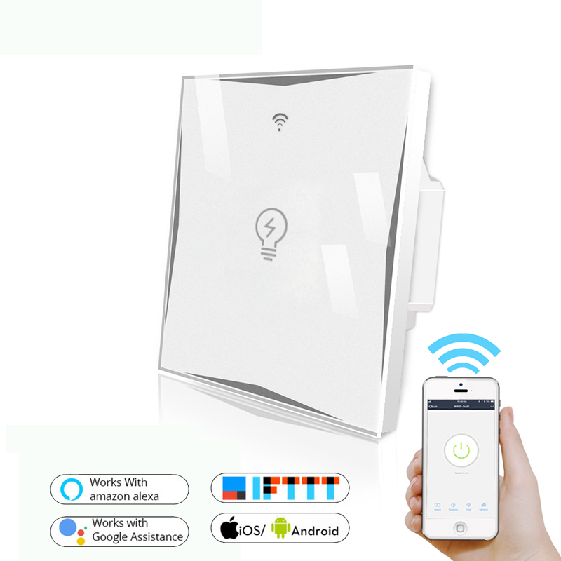 Wifi Smart EU Socket Wall Touch Switch Glass Panel  Remote Control Work With Google Home And Alexa IFTTT APP Smart Life