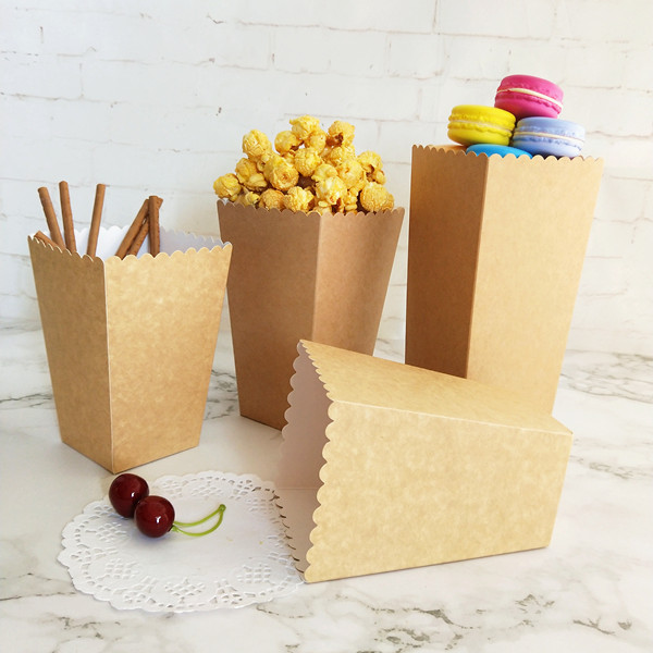 12pçs caixa de presente de embalagem de popcorn, copos de caixa natural de presente para decoração de festa de casamento, aniversário de natal