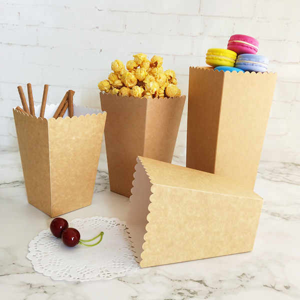 12pcs คราฟท์ธรรมชาติรักษากล่อง PopCorn กล่องสำหรับงานแต่งงานงานเลี้ยงตกแต่งคริสต์มาสวันเกิด PARTY Candy ของขวัญกล่องถ้วย