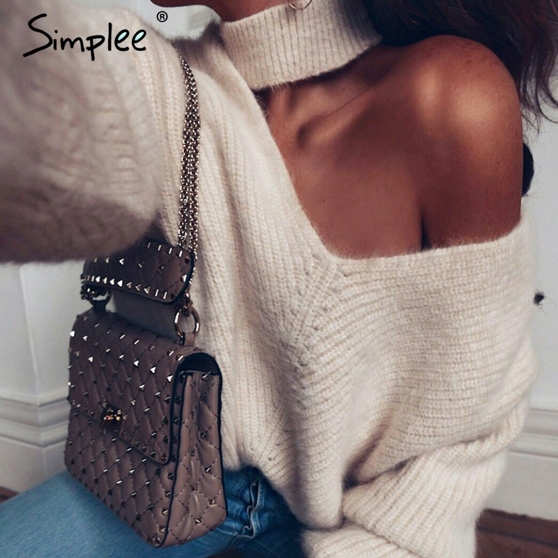 Simplee Sexy Halter Cold Shoulder Knitted Sweater Women V Neck Autumn Winter Casual Pullover Jumpers Sweater Pull Femme 2018