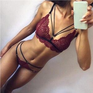 Fashion Women Bra Set Polyester Lace Lingerie Straps Sissy Panty Bandage Set Sexy Light and Breathable Underwear Sets(China)