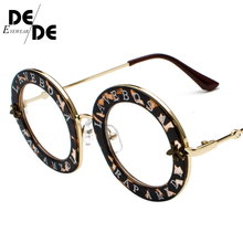 Fashion Female Round English Letters Sunglasses Transparent Frame Tint Lens Trending Circle uv400