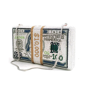 Image 2 - Transporte rápido por atacado luxo saco famoso luxos bolsas feminino festa à noite cristal pilha de dinheiro rico garras bill bolsas