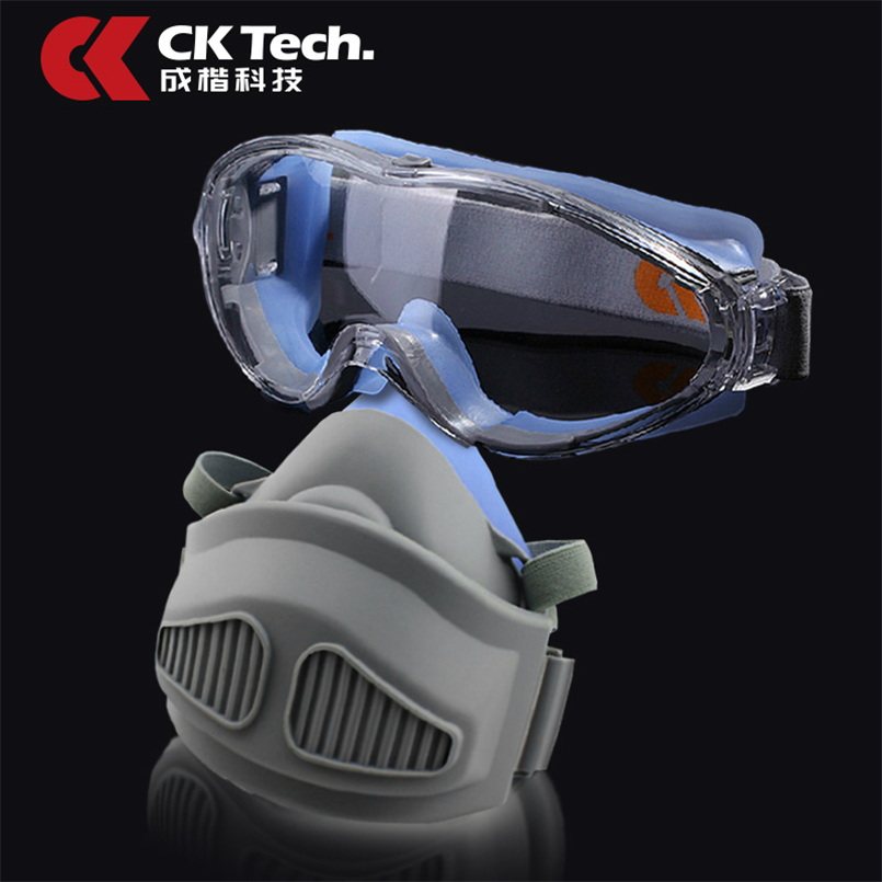 Anti-Impact Safety Goggles +Silicone Protective Dust Mask Respirator Set  Sports Bicycle Clear Lens Glasses Work Paint Sets