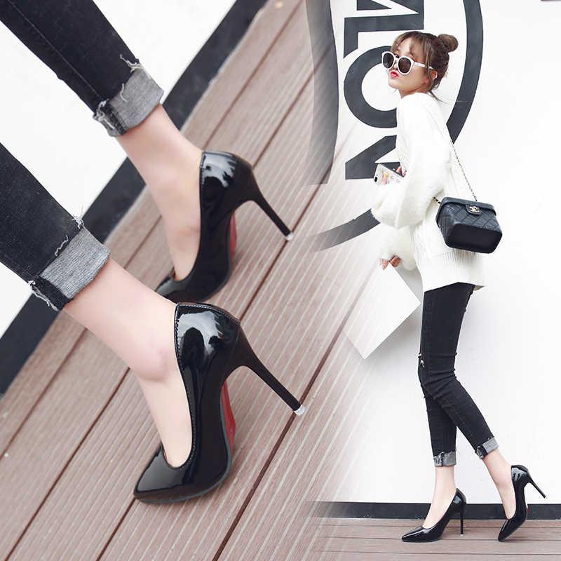 Europa en Amerika Sexy Elegante Dunne Hak Wees Hoge Hakken Zwarte Werkschoenen Enkele Schoenen Dress Party Womens Schoenen Rode Bruiloft schoenen