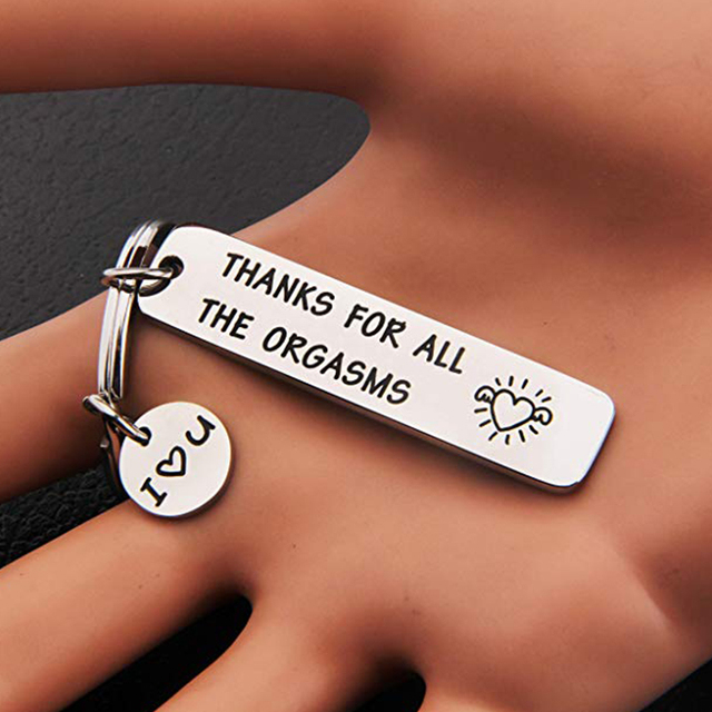 Custom Keyring Engraved Thank for All The Orgasms I Love You Key Ring Couple Keychain Jewelry Gifts Give To My Boyfriend Husband 2