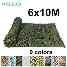 WELEAD 6x10M Gia Cố Ngụy Trang Lưới Quân Sự Rừng Trắng Xanh Dương Cát cho Sân Vườn Bạt Phủ Che Giấu Bóng Lưới 6x10 10x6 6*10M 10*6M