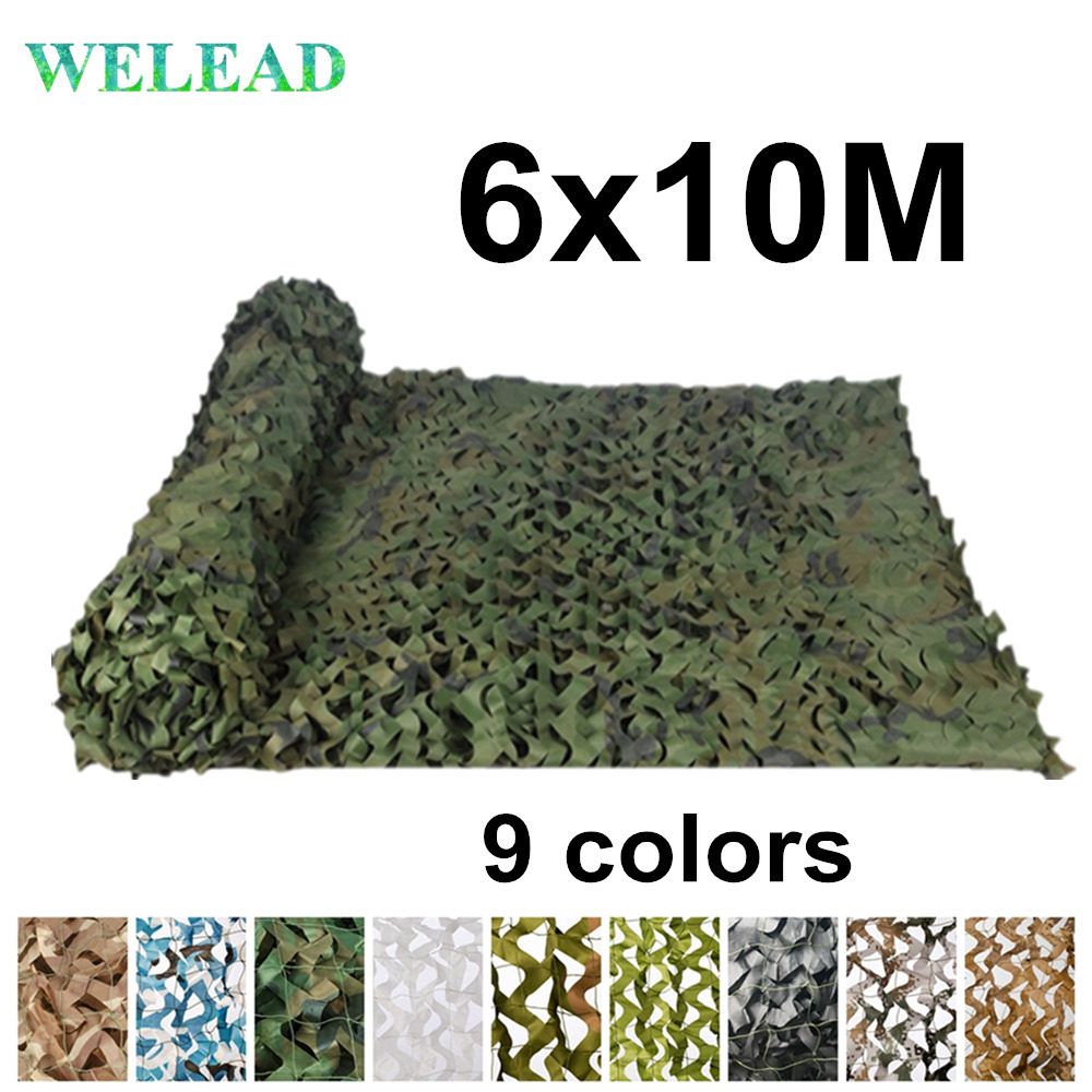 WELEAD 6x10M Reinforced Camouflage Net Military Jungle White Blue Sand for Garden Awning Hide Shade Mesh 6x10 10x6 6*10M 10*6MSun Shelter   -
