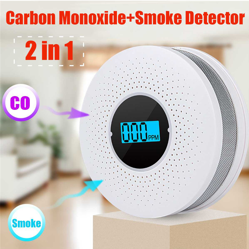 Home Security Protection High Sensitive 2 In 1 LCD Display Digital Gas Smoke Alarm Co Carbon Monoxide Detector Voice Warn Sensor