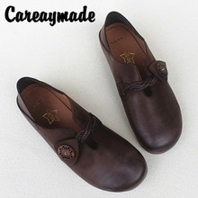 Careaymade-New All-leather Flat-soled Ethnic Style Womens Shoes, Spring and Summer Soft Leather pure Handmade Round Head shoes