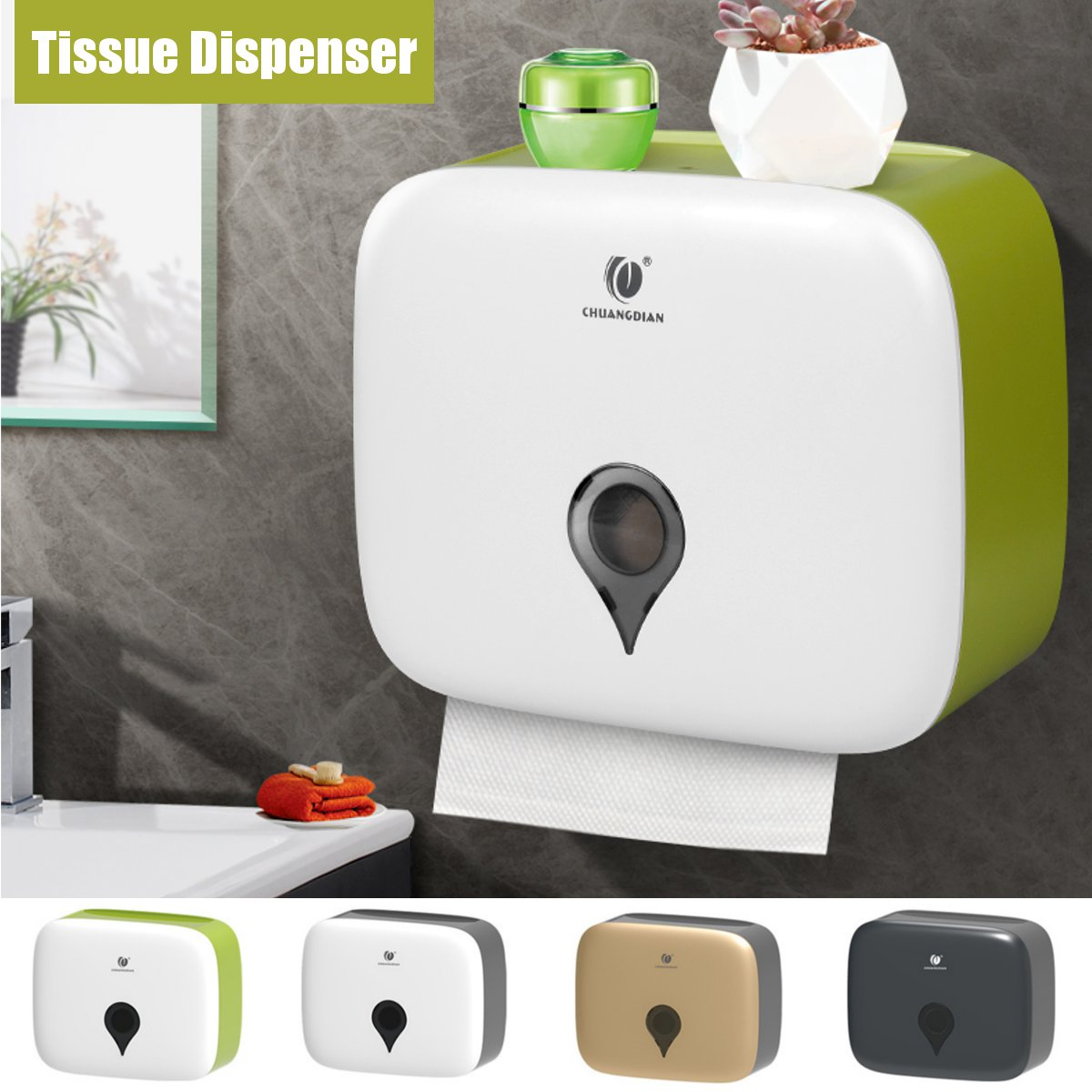 Bathroom Portable Toilet Paper Holder Double Layer Waterproof Storage Box Wall Mounted Toilet Paper Roll Towel Dispenser