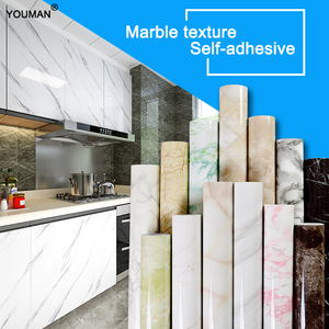 Image 1 - 3D Marble Vinyl Film Self Adhesive Waterproof Wallpaper for Bathroom Kitchen Cupboard Countertops Contact Paper PVC Wall Sticker