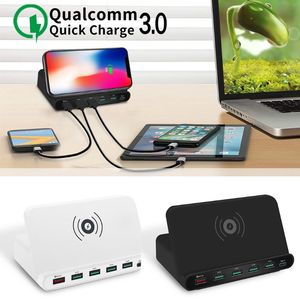 Image 2 - Soporte Universal para estación de carga rápida, adaptador de corriente Universal de carga rápida 3,0, 5x, USB tipo C PD 18W, cargador inalámbrico Qi para teléfono móvil