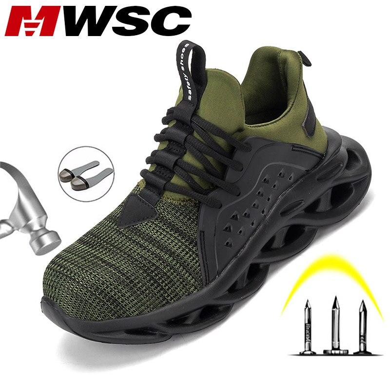 MWSC/Безопасная рабочая обувь для мужчин, Рабочая обувь со стальным носком, противоразбивающие строительные рабочие ботинки, неразрушаемые б...