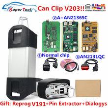 Obd2 ferramenta de diagnóstico para renault pode clipe chip completo interface de diagnóstico para pode clipe v203 + reprog v189 cypress an2131qc canclip