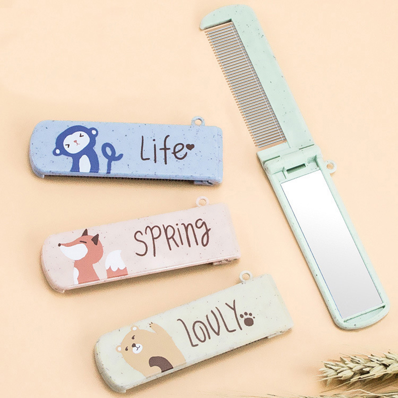 1Pcs Cartoon Folding Comb With Mirror Portable Folding Mini Hair Comb Pocket Size Anti-static Travel Hair Comb Hair Styling Tool