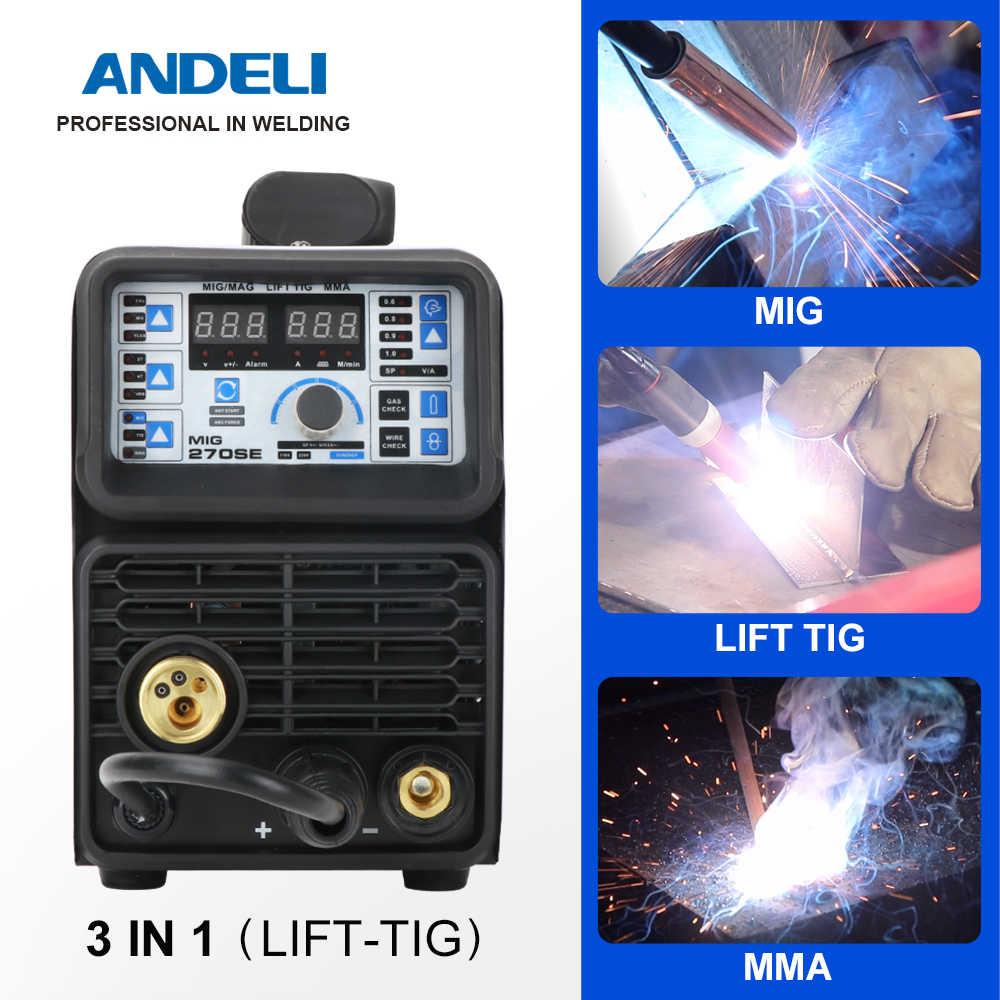 ANDELI MIG-270SE 3ใน1 TIG MIGเครื่องเชื่อม110V/220V MIG TIG MMA Gaslessเครื่องเชื่อมmigเชื่อมเครื่อง