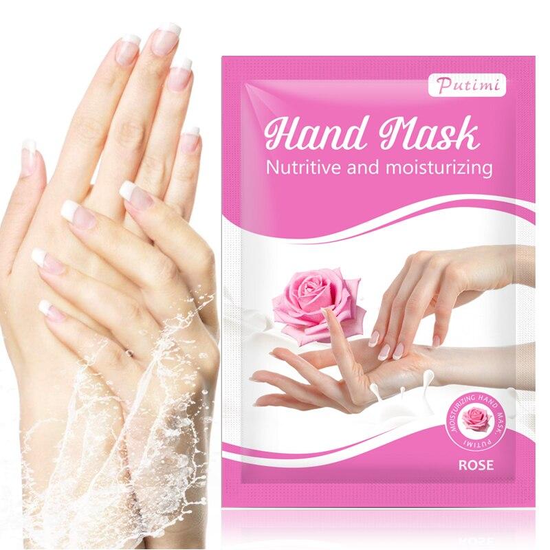 PUTIMI Rose Hand Mask Peel Hand Care Moisturizing Spa Gloves Whitening Hand Cream Exfoliating Hand Scrub Remove Dead Skin Care