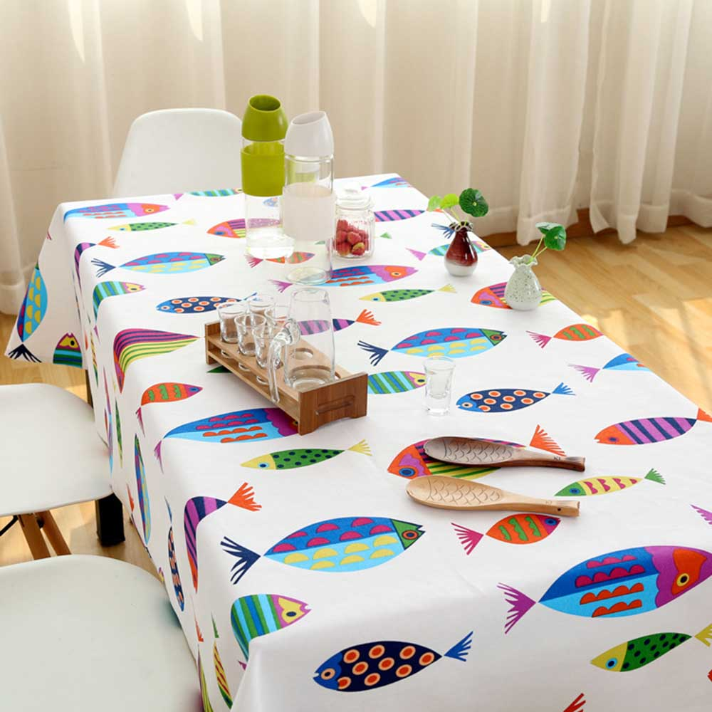 Fish Pattern Tablecloth Cover Covers Rectangular Dining Tableware Rectangle Cartoon Children Holiday Birthday Party Tablecloth