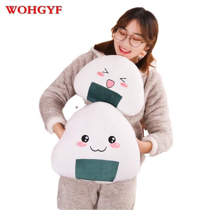 New 1PC Japanese Sushi Rice Pillow Cushion Creative Stuffed Plush Toy Cute Balls Doll The Second Element Dumpling Doll 40