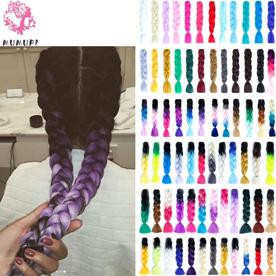 MUMUPI High Quality Ombre Braiding Hair 100g Jumbo Crochet Braids Synthetic Hair Extensions Women Headwear
