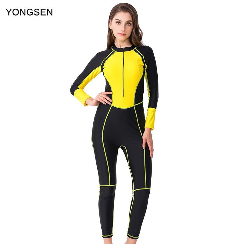 YONGSEN Women's Professional One Piece Swimsuit Longer Pants Swimming Sportswear Swimwear With Sleeves Bodysuit