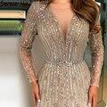 Платье вечернее ТРАПЕЦИЕВИДНОЕ золотистое в мусульманском стиле с длинными рукавами и блестками, LA70674
