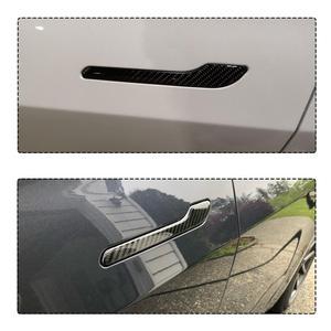 Image 3 - 4 قطعة ملصقات مقبض الباب ل تسلا نموذج 3 التفاف حامي ألياف الكربون ملصق سيارة التصميم
