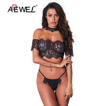 ADEWEL Sexy Off Shoulder Lace Bralette Lingerie Bodysuit Combinaison Pantalon Femme Push Up Hollow Out Body Femme Jumpsuit(China)