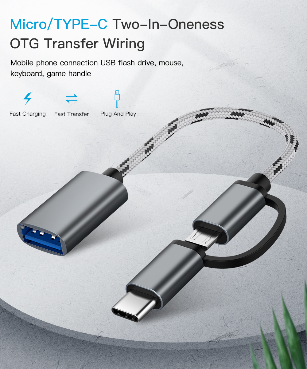 2 In 1 USB 3.0 OTG Cable Portable Type-C Micro USB OTG Adapter Cable USB Type C Male To USB 3.0 A Female OTG Data Cord Adapter