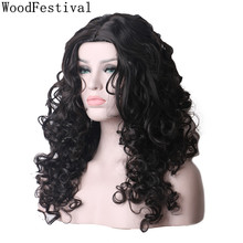WoodFestival Women Heat Resistant Synthetic Wig Black Long Curly High Temperature Fiber Cosplay Wigs цены онлайн