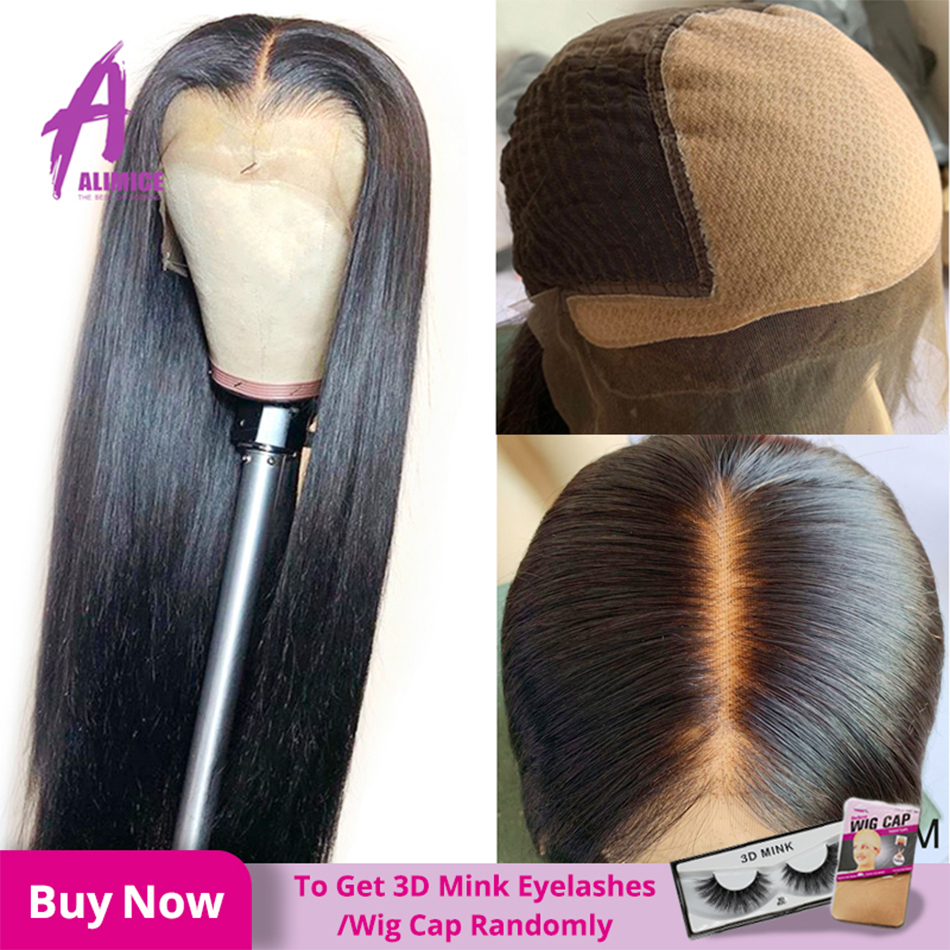 Fake Scalp Glueless 13*4 Lace Front Human Hair Wigs 150% Density Brazilian Straight Hair Lace Frontal Wigs Alimice Remy Hair Wig