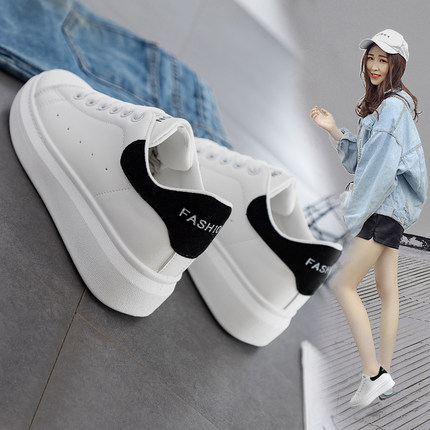 Mlcriyg 2020 Women Female Ladies Girl Student Genuine Leather White Shoes Flats Lace Up Soft Skateboarding Shoes Korean 35-40
