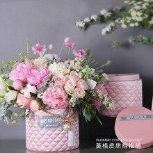 Набор круглой формы в форме цветка кожа коробки с крышкой Hug ведро флористическая подарочная упаковочная коробка с жемчугом валентинки аксессуары