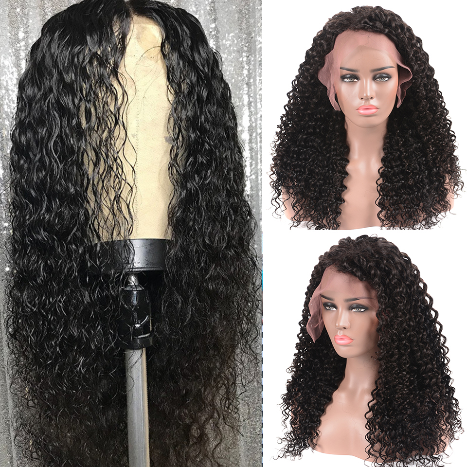 Deep Wave Wig Lace Front Wig Brazilian Deep Curly Lace Front Human Hair Wig Remy Pre Plucked For Black Women Natural Black