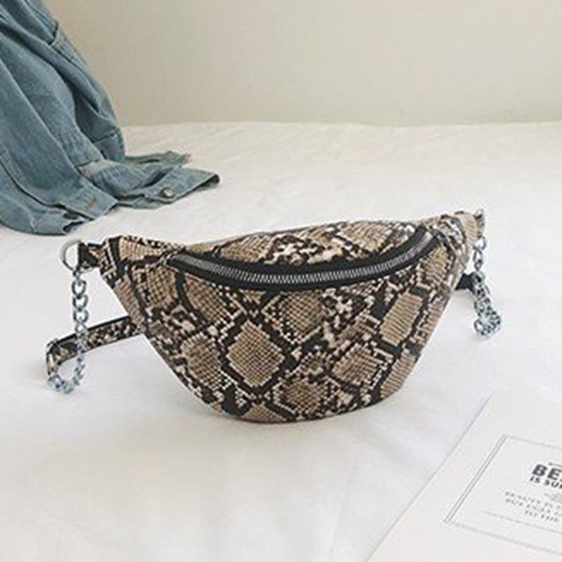 Casual Women's Waist Bags Chain Serpentine Single Shoulder Bag Fanny Pack Diagonal Straddle Bag   /BY