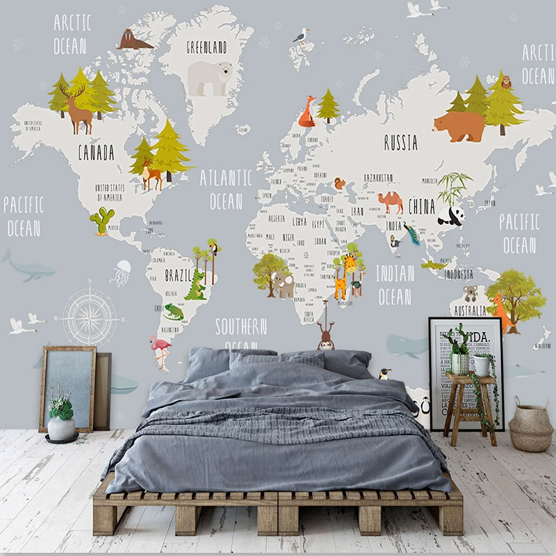 Custom Photo Wallpaper Cartoon World Map Children Room Bedroom Background Wall Home Decoration Wall Mural De Parede 3D Wallpaper