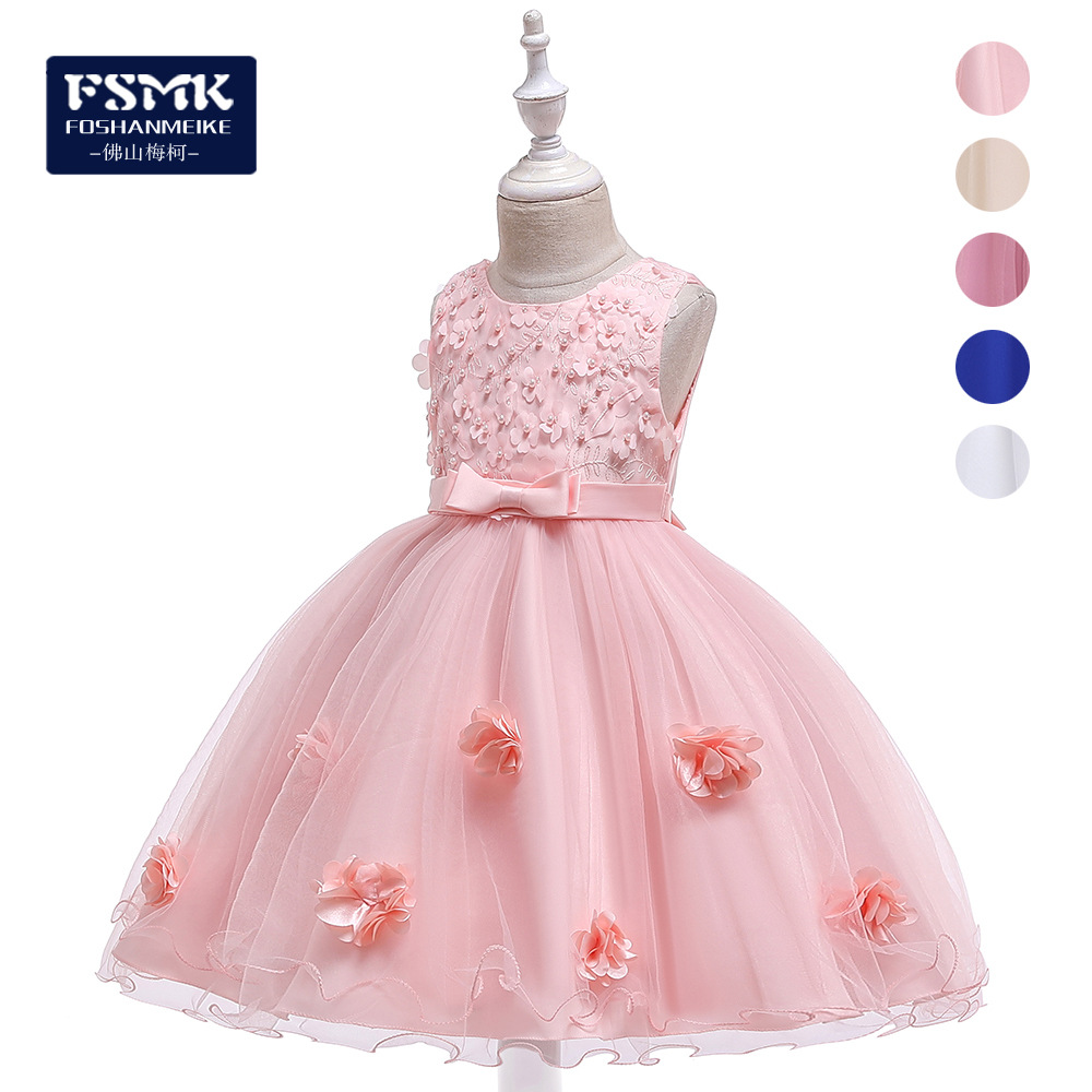 Cross Border Wholesale New Style Children Formal Dress Bow Stereo Flower Girls Piano Costume Dresses Of Bride Fellow Kids