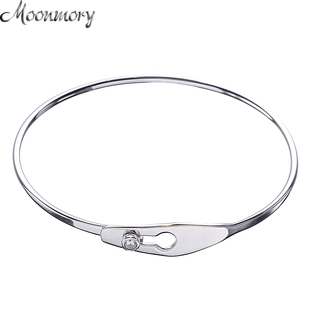 Moonmory 2017 France Popular 925 Sterling Silver Serrure Jonc Bracelets & Bangles For Women Silver Charm Lock Bangle Wholesale