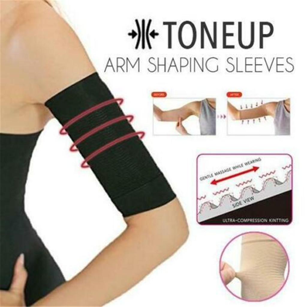 1Pair Slimming Compression Arm Shaper Slimming Arm Belt Helps Tone Shape Upper Arms Sleeve Shape Taping Massage For Women #L10
