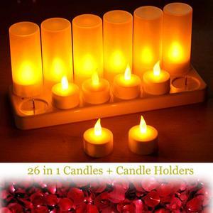Image 1 - 12 pcs LED 충전식 Flameless 차 빛 촛불 세트 전기 votives waxless 안전 로맨틱 생일 웨딩 교회 바 장식