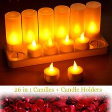 12 pcs LED Rechargeable Flameless Tea Light Candle set electric votives waxless safe romantic birthday wedding church bar decor